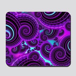 Funky Purple Swirl Fractal Art Pattern Mousepad